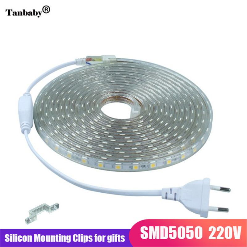LED Strip IP67 Waterproof SMD 5050 AC220V led strip flexible light EU Power Plug 60leds/m 1M 2M 3M 5M 10M 15M Indoor Outdoor Led
