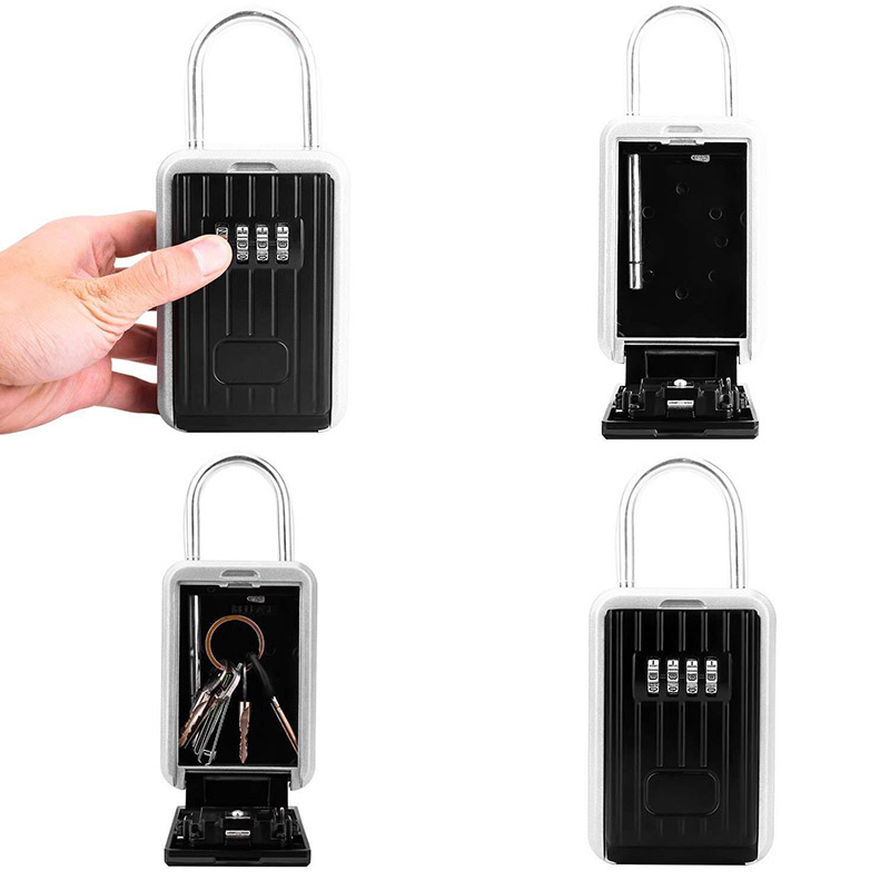 Key Storage Lock Box With 4-Digit Combination Hanging Key Safe Box For Indoor Outdoor KQS8