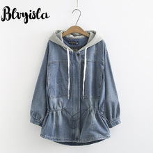 Blvyisla 5XL Letter Embroidered Loose Thickened Cowboy Hoodies Trench Slim Waist