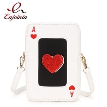 White Pu Leather Red Heart Poker Design Fashion Women Casual Shoulder Bag Tote Crossbody Bag Ladies Purses and Handbags Pouch red wedding pu leather fashion new african shoes and bag set for party italian shoes with matching bag new design ladies bag