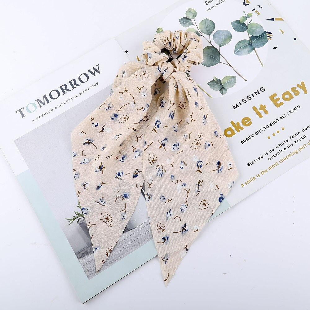 Levao fleur impression cheveux écharpe arc chouchous queue de cheval bandeau pour femmes cheveux accessoires nœud papillon élastique cheveux corde bandeaux 47