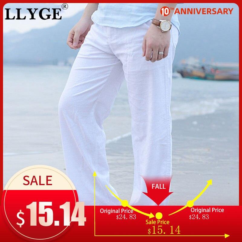 Cotton Linen Wide Leg Men's Long Pants Black Leisure Male Loose Straight Trousers 2020 Summer Streetwear Casual Men Bottoms
