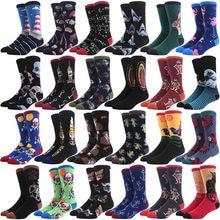 Chaussettes en coton peigné pour hommes, tendance, Hip Hop, Harajuku, requin, Clown, Skateboard, peinture à l'huile, animal Happy Socks, drôle Sokken