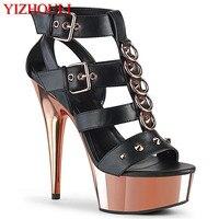6 zoll, sexy heels, metall schnalle, mode pailletten vamp, 15 cm galvani stiletto heels, bühne pole dance sandalen