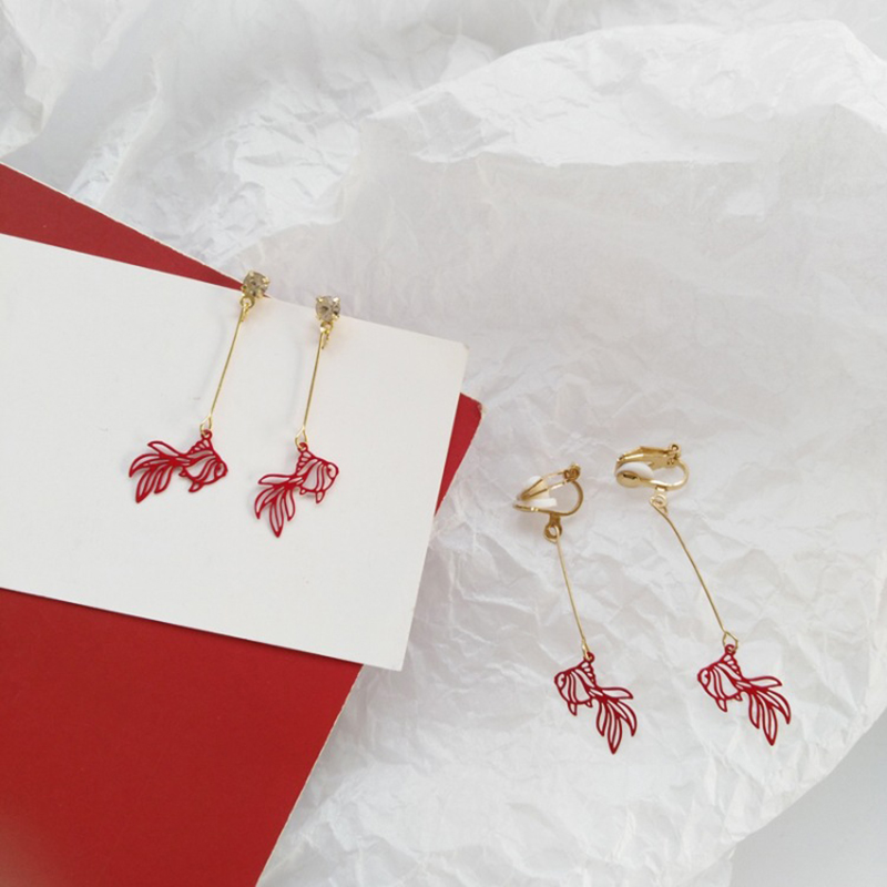 Chinese Style Personality Vintage Goldfish Metal Rhinestones Love Dangle Earrings Fashion Temperament Ladies Jewelry Accessorie