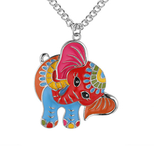 2019 New Elephant Colorful Enamel Alloy Necklace Women Christmas Deer Pendant Chain Fashion Animal Drip Jewelry Accessories