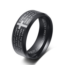 Titanium Steel Bible Cross Black Ring For Men Gold English Letter Lord's Prayer Christian Ring For Women Silver Jesus Jewelry delicate titanium steel rhinestone ring jewelry for men