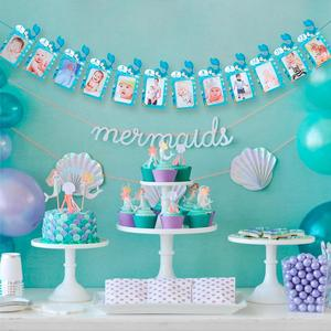 QIFU Little Mermaid Party Supplies Disposable Tableware Mermaid Theme Birthday Party Decor Girl Favor Wedding Gift Baby Shower