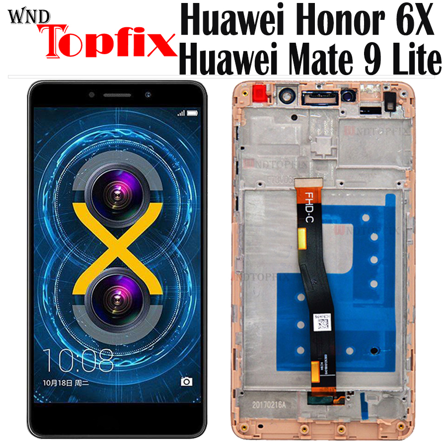 ЖК-дисплей с дигитайзером для Huawei Honor 6X, сенсорный экран BLN L24 AL10 L21 L22 для Honor 6X, Huawei Honor 6X с рамкой