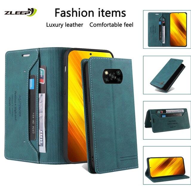 Leather Flip Case For Xiaomi Poco X3 NFC F3 11 10 9 10T Lite 9T CC9 E Redmi 9C 8A 7A Note 10 10X 9 9S 8 8T 7 K20 Pro Max Phone