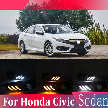 2pcs For Honda Civic Sedan 2016-2018 LED Daytime Driving Running Light DRL Car Fog Lamp 6000K White Turn Yellow Turn Blue Light