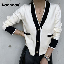 Sweater Cardigan-Top Women Knitwear Pockets-Coat Patchwork Long-Sleeve V-Neck Winter