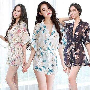 sexy nightdress woman sexy erotic underwear floral print perspective lace-up nightdress Japanese kimono miniskirt cosplay цена 2017