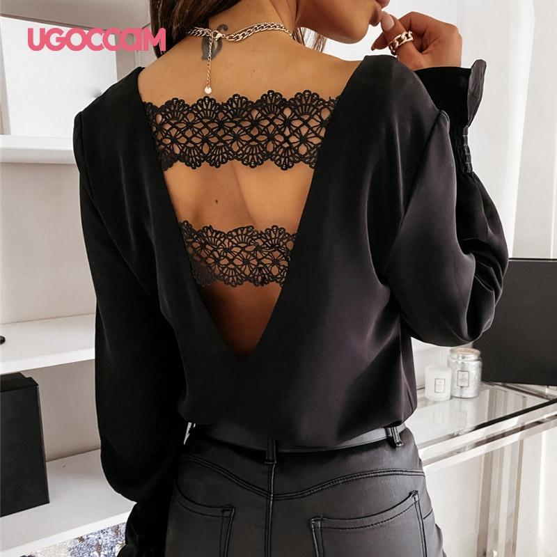 Ugoccam blusas femininas plus size manga comprida sexy com decote em v sem costas rendas retalhos blusa outono primavera camisas casuais