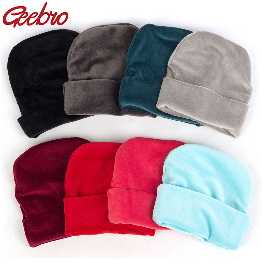 Geebro New Winter Thick Warm Velvet   Beanies   Hats For Newborn Baby Boys Girls Soft Cotton Toddler Infant Toddlers Soft Solid Caps