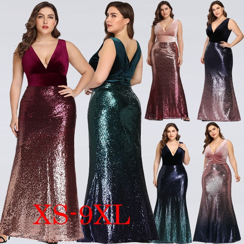 Plus Size Mother Of Bride Dress Ever Pretty Mermaid Sequined Long Formal Gowns For Wedding Guest Vestidos Para Madre De La Novia