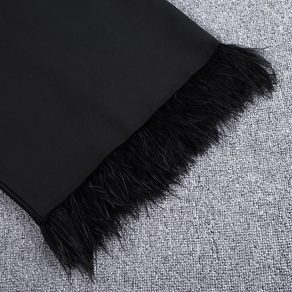 Feather Bandage Elegant Vestido 17