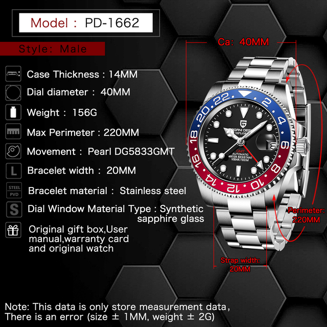 PAGANI DESIGN Sapphire Glass 40MM Ceramic GMT Mechanical Watches 100m Waterproof Classic Fashion Luxury Automatic Watch 2