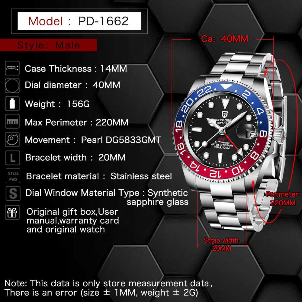 PAGANI DESIGN Sapphire Glas 40MM Keramik GMT Mechanische Uhren 100m Wasserdicht Klassische Mode Luxus Automatische Uhr