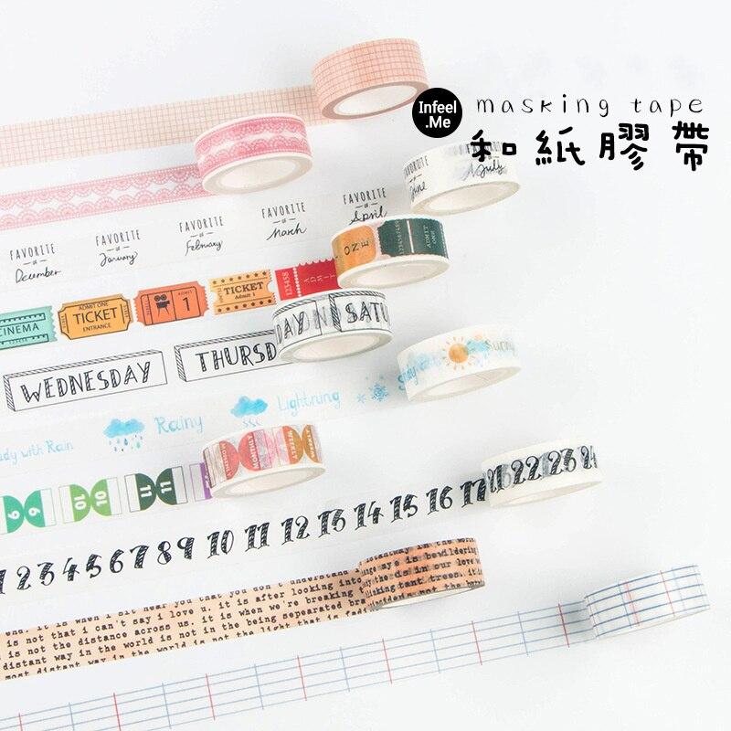 Happy Journey Paper Washi Tape Lace Grid Week Weather Memo Luggage Car Adhesive Masking Tape Diary Sticker DIY Decoration F6347