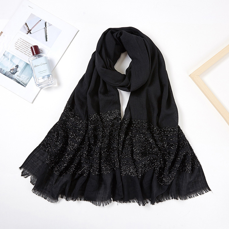 2019 Women Long Glitter Shimmer Muslim Viscose Head Wrap Hijab Scarf Female White Black Solid Color Tassel Fringe Scarves Shawls