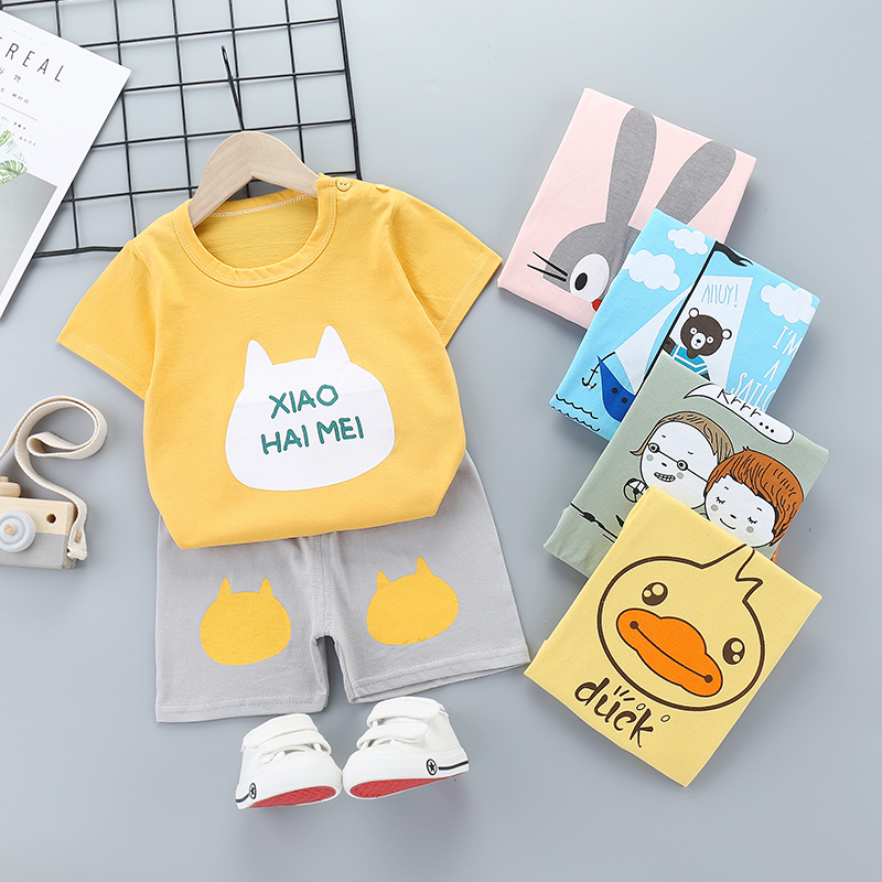 2 Pcs Baby Boys Girls Clothes Short Sleeve T-Shirt Children's Clothing Set For  Kids Lovely Cute Cartoon Pajamas Clothe