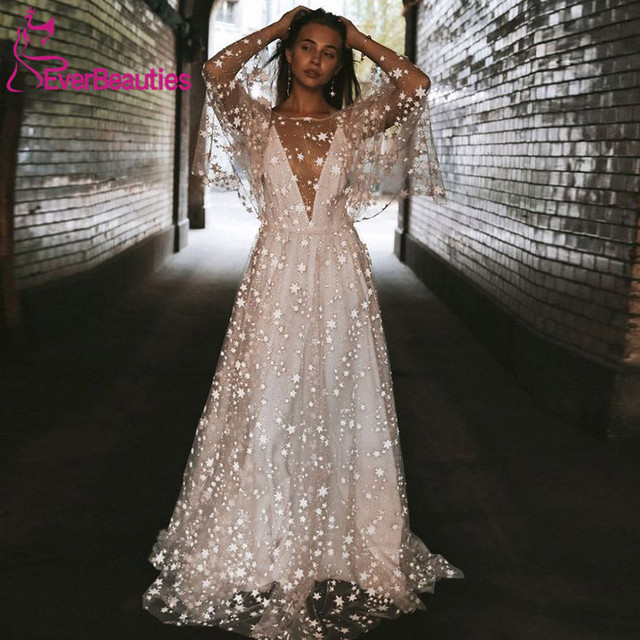 חוף חתונת שמלת 2020 מבריק כוכבים אונליין Boho כלה שמלה ללא משענת קיץ כלה שמלות