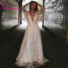 Strand Hochzeit Kleid 2020 Shiny Sterne A line Boho Braut Kleid Backless Sommer Brautkleider