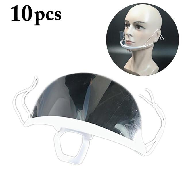 10PCS Reusable Transparent Mouth Mask Disposable Anti-fog Anti Saliva Mouth Shield for Catering Health Care Accessories