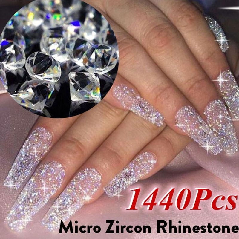 1440pcs/bag Multi-size Glass Nail Rhinestones For Nails Art Decorations Crystals Partition Mixed Size Rhinestone Set