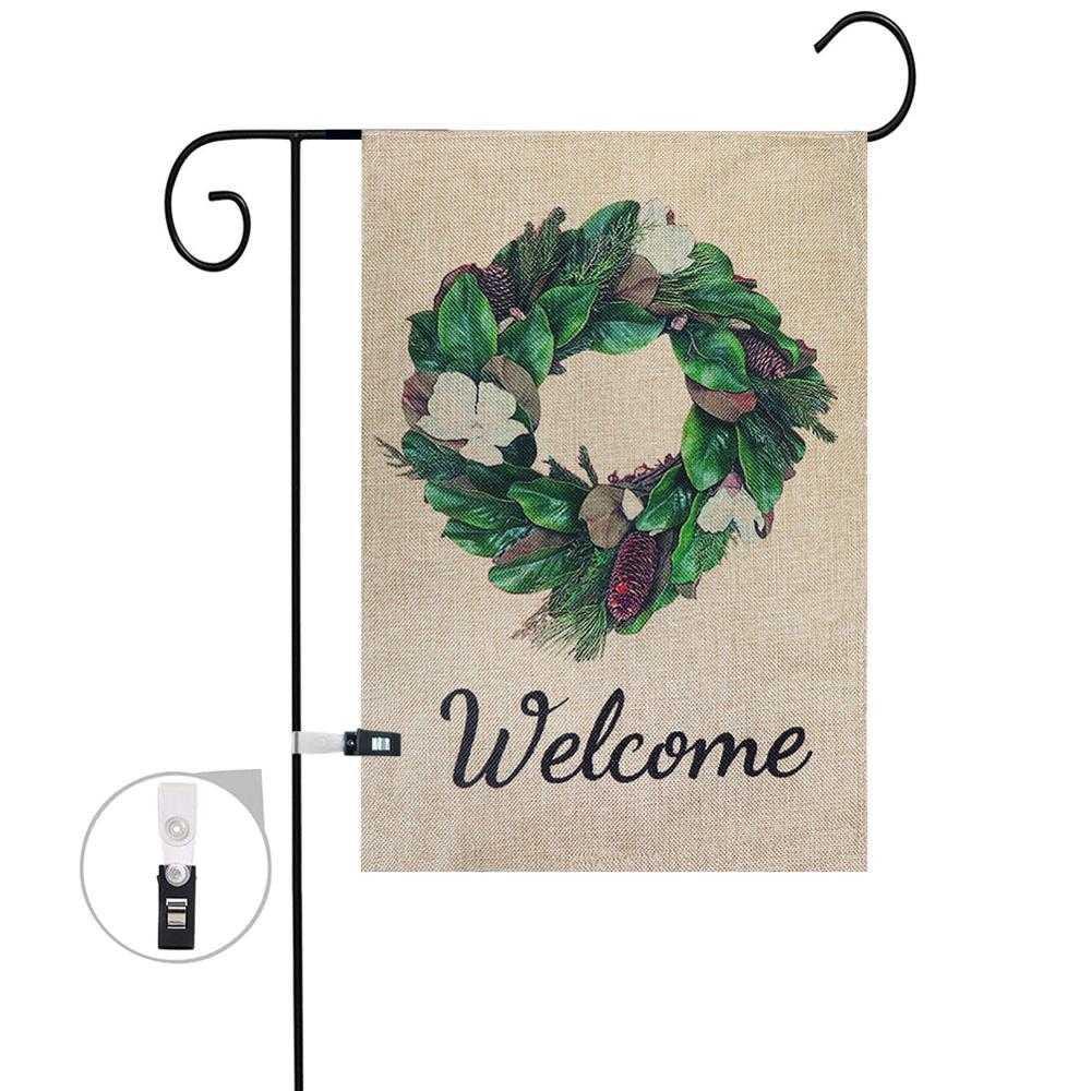 Garden Welcome Flags And Banners Wreath Sign Flags Burlap Double Sided Summer Farmhouse Decor With Securing Clip Easter Party