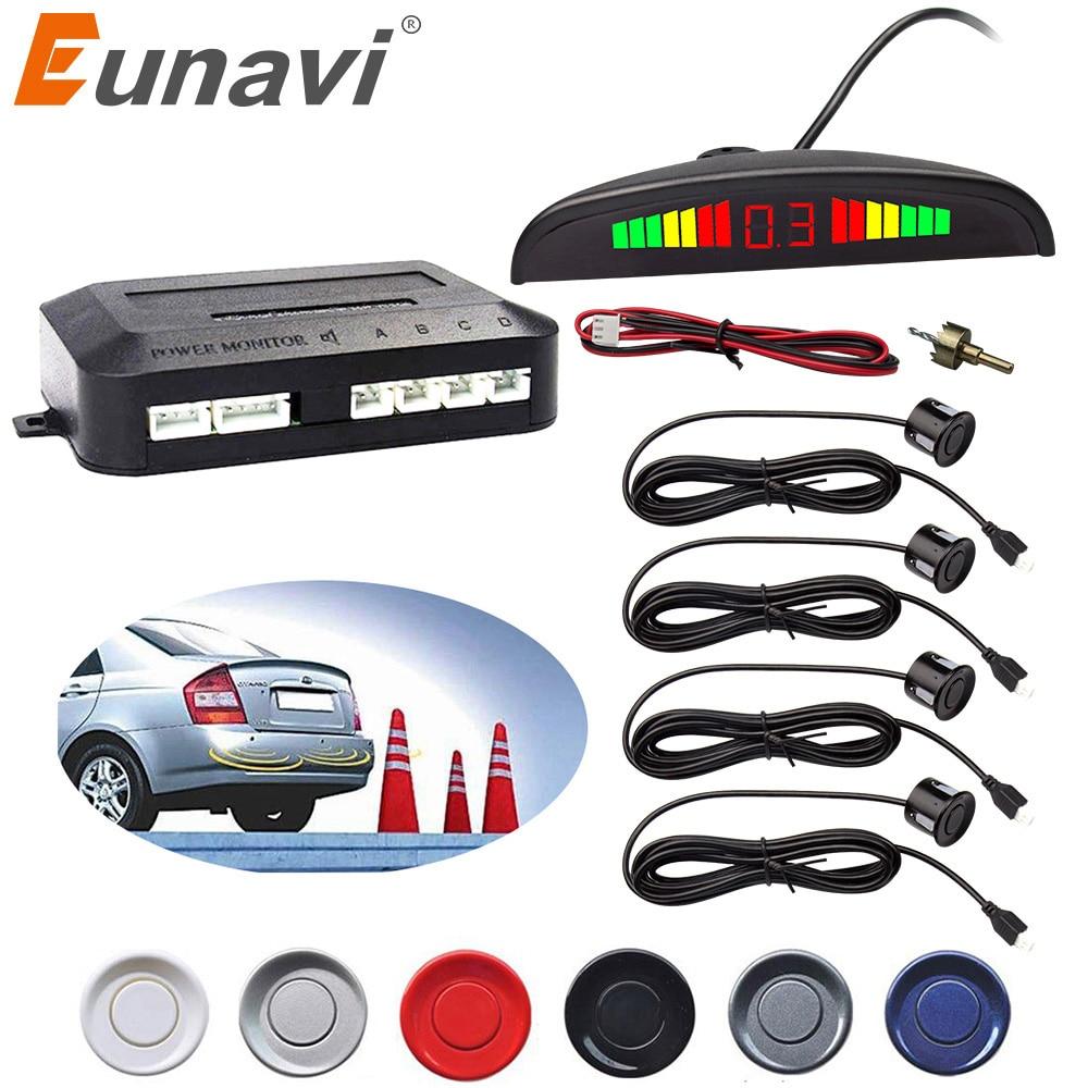 Eunavi Auto LED Parkplatz Sensor Kit 4 Sensoren Hintergrundbeleuchtung Display Reverse Backup Radar Monitor System 9-16V Kostenloser verschiffen