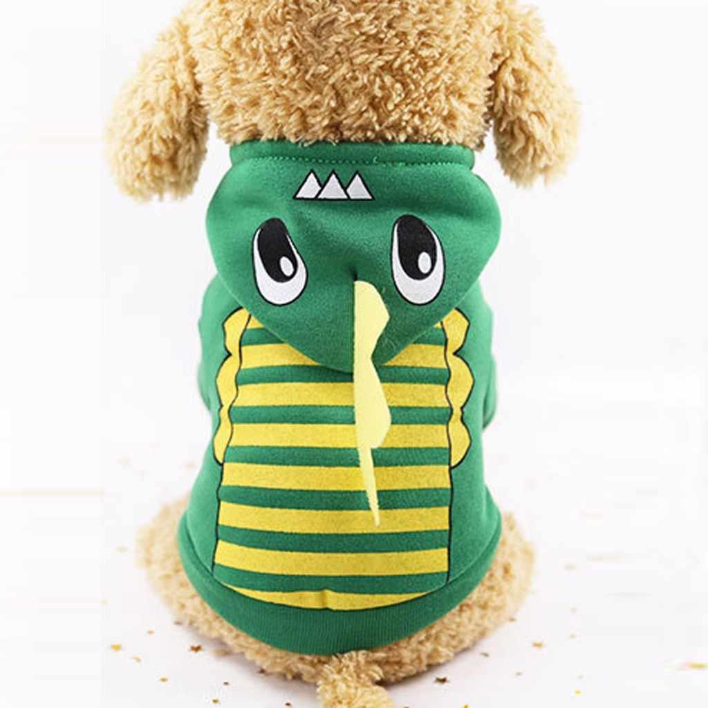 ペット犬冬の恐竜プリントフード付き服ペット犬長袖トップ爆発ペット恐竜フード付きジャケット恐竜 2020 新 #30