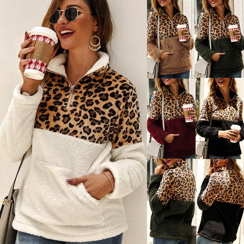Hoody Women Cashmere Leopard  Long Sleeve Hoodies Pocket Women's Sweatshirt Zipper Winter Hoody For Female Coat  S M L XL