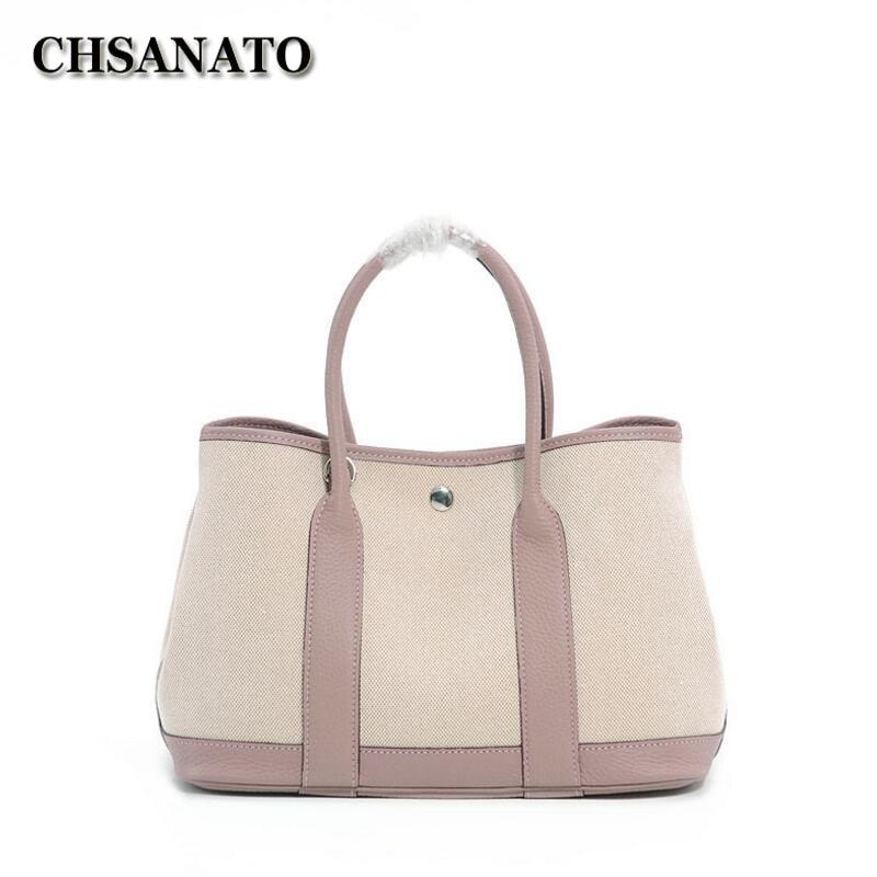 CHSANATO Famous Brands Canvas+ Cow Leather Tote Bag Luxury Designer Handbags High Quality Female Composite Bags 25CM 30CM
