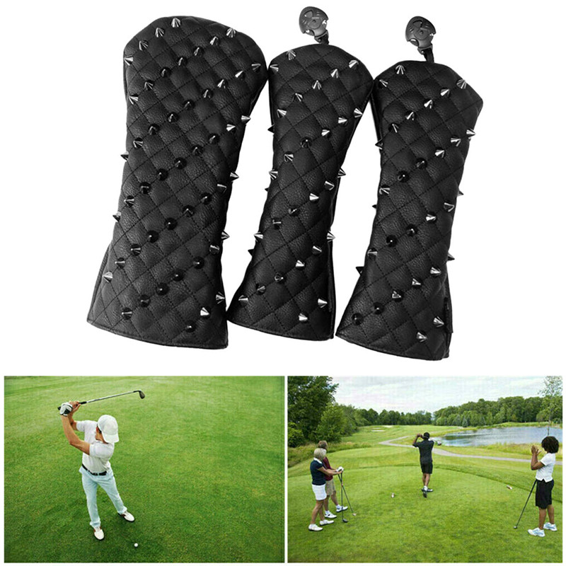 1/3Pcs Fashion Rivets PU Golf Head Covers Golf Club Driver Headcovers Fairway Wood Golf HeadCover Driver Cover Putter Head Cover