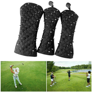 1/3Pcs Fashion Rivets PU Golf Head Covers Golf Club Driver Headcovers Fairway Wood Golf HeadCover Driver Cover Putter Head Cover golf clubs driver putter headcover no1 driver cartoon animal wood headcover clubs protection covers