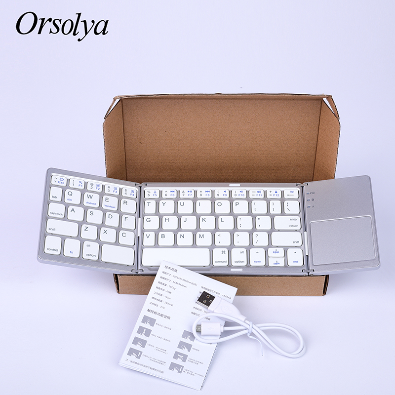 Image 5 - ミニ折りたたみキーボード Bluetooth 折りたたみワイヤレスキーボードとタッチパッド、充電式、アンドロイド/windows  の/ios タブレット電話 ipad    グループ上の パソコン