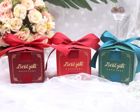 Wedding Candy Box with ribbon candy packaging boxes wedding souvenirs Birthday Party Christmas Baby shower favors gift box
