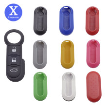 Xinyuexin-funda con tapa para llave de coche, almohadilla de repuesto con 3 botones, almohadilla con botón de goma, para Fiat 500, Panda Punto Bravo