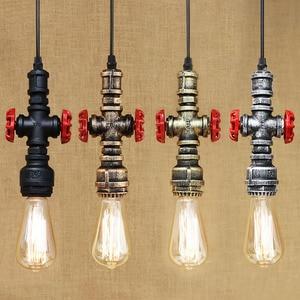 Image 2 - Loft industrial Iron water Pipe steam punk Vintage pendant lamp cord E27 led pendant lights for bedroom bar restaurant kitchen