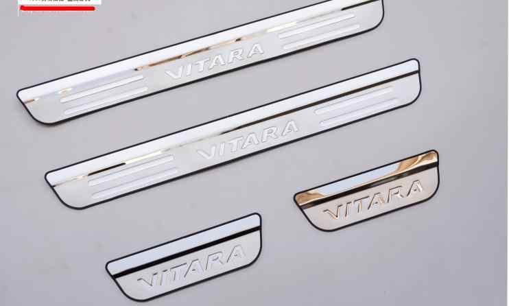 Estilo de coche de alta calidad 4 uds/Umbral de puerta cromado s Set para 2007-2012 Suzuki Grand Vitara 5D Acero inoxidable Umbral de puerta placas de desgaste