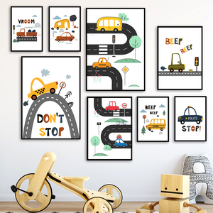 Cartoon Kids City Car Driver Club Nursery Wall Art Canvas Painting Nordic Posters And Prints Wall Pictures Baby Boy Room Decor