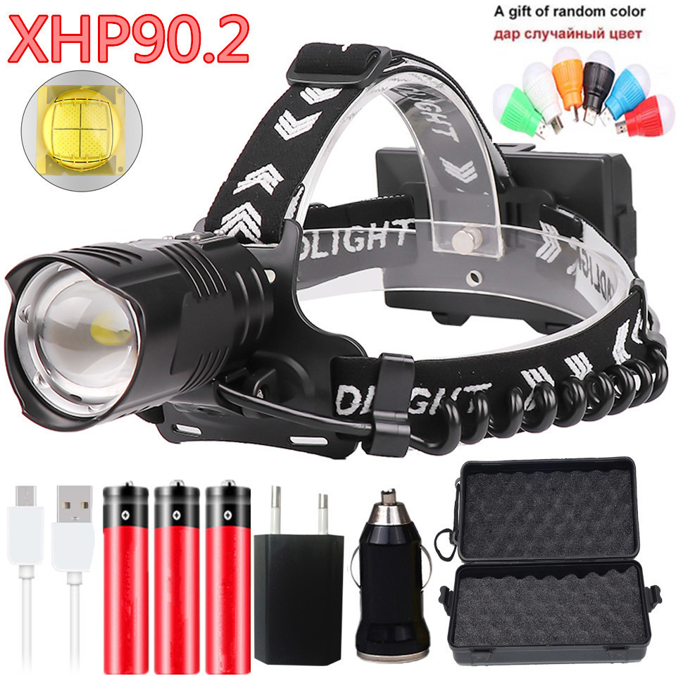 Super Bright Xhp90.2 Led Headlamp Headlight Head Lamp Torch Lantern Bulbs Zoom In / Out Lithium Ion 3* 18650 Rchargeable Battery