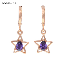 New Dangle Earrings 585 Rose Gold Hollow Earrings For Women Party Fashion Jewelry White Natural Zircon star Earring