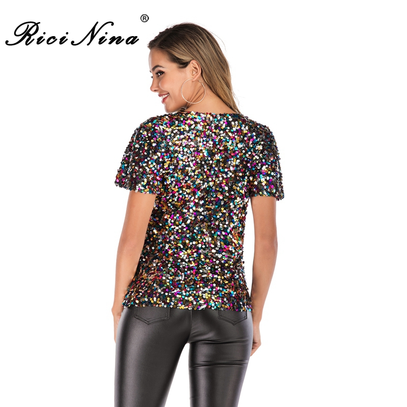 RICININA Party Tshirt Women 2020 Short Sleeve Sequin Sparkling Top Femme T Casual T-shirt Women Sexy Tee Shirt Spring Summer