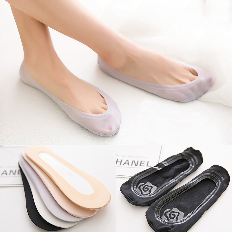 Summer Invisible Short Sock For Women Non-slip Boat Sock Comfortable Ice Silk Girls Boat Socks Ankle Low Female Invisible Socks