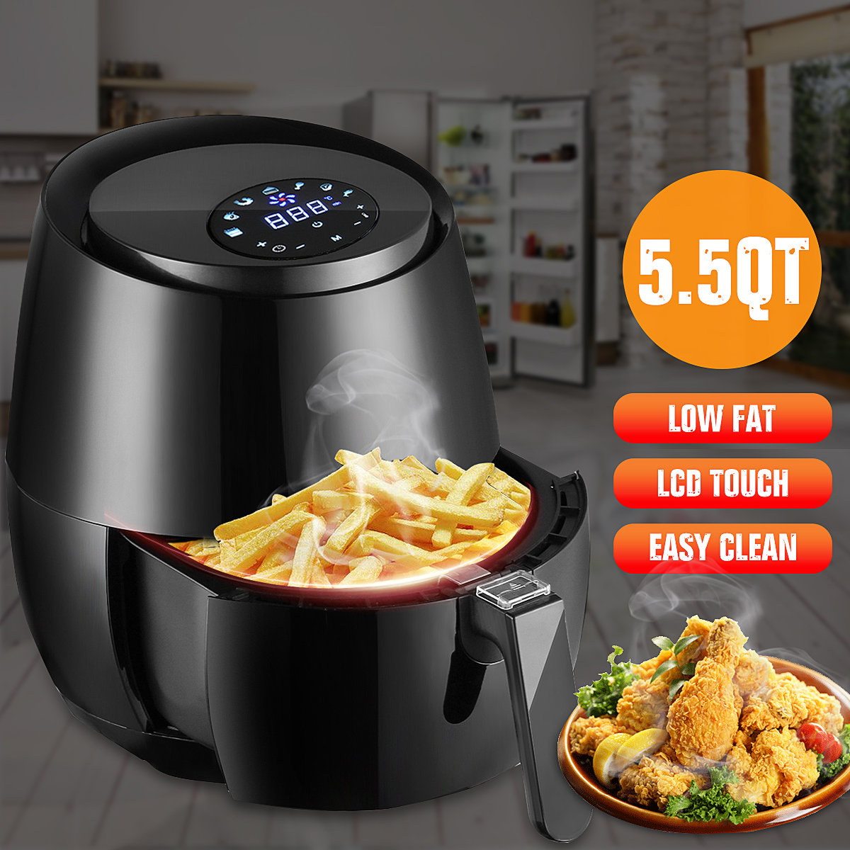 1400W 5.2L Multifunction Smart Fryer Chicken Oil free Air Fryer Health Fryer Cooker Smart Touch LCD Electric Deep Airfryer