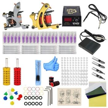 Complete Professional Tattoo Machine Kit Sets liner shader tattoo 2 machine kits suite set Power Supply Needles Grip Tip Set