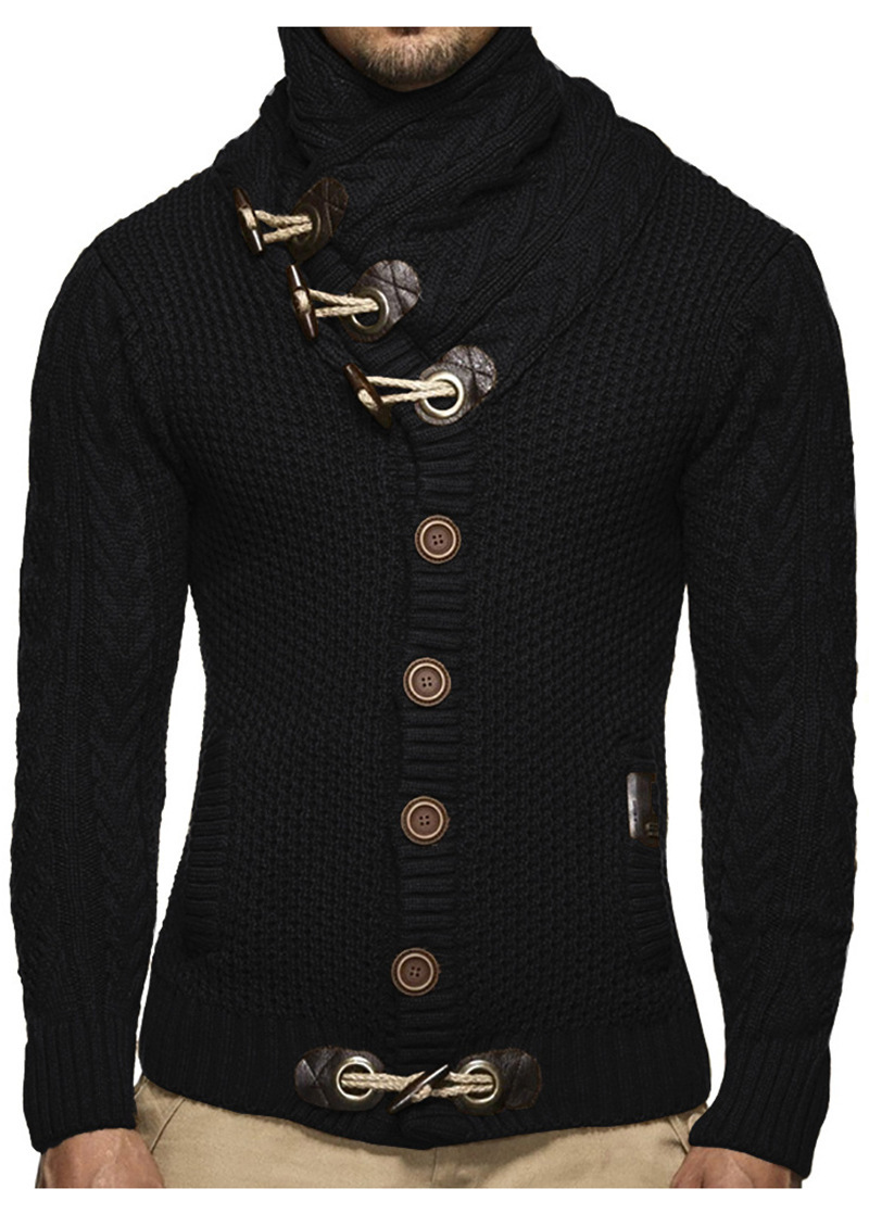 ZOGAA Plus Size Mens Cardigan Sweater Autumn Winter Casual Turtleneck Sweaters Long Sleeve Solid Knitting Mens Pullover Sweaters